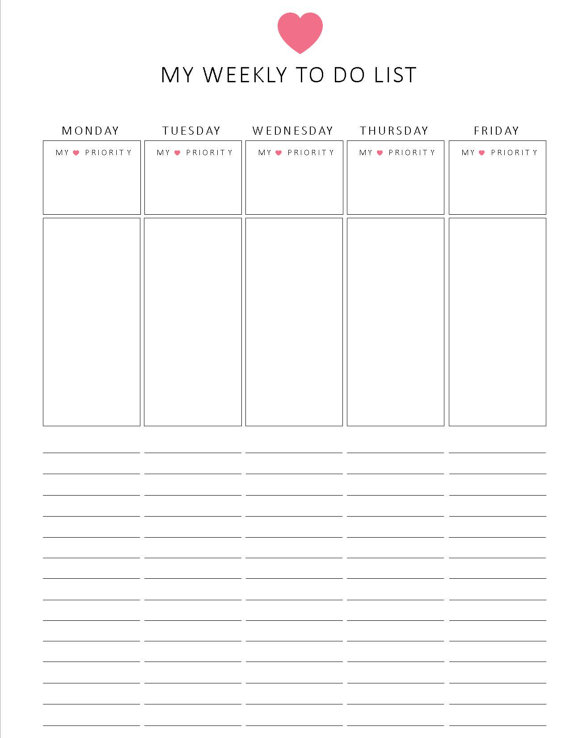 Weekly To-Do List from Lizzie Lou Creations