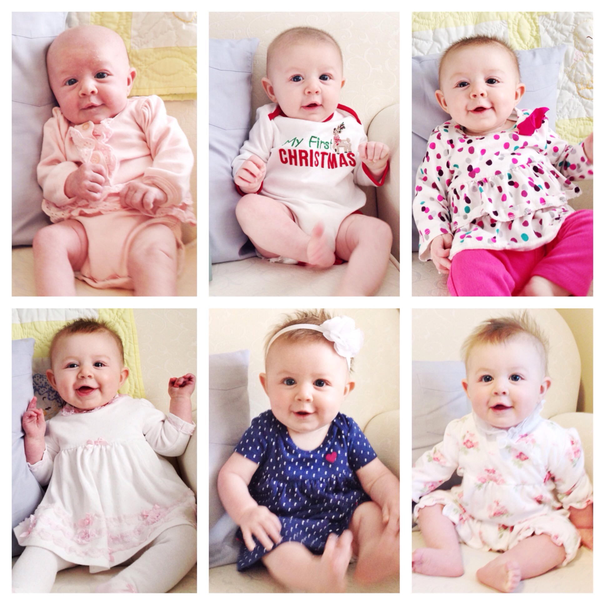 Elizabeth monthly pictures Month 1-6