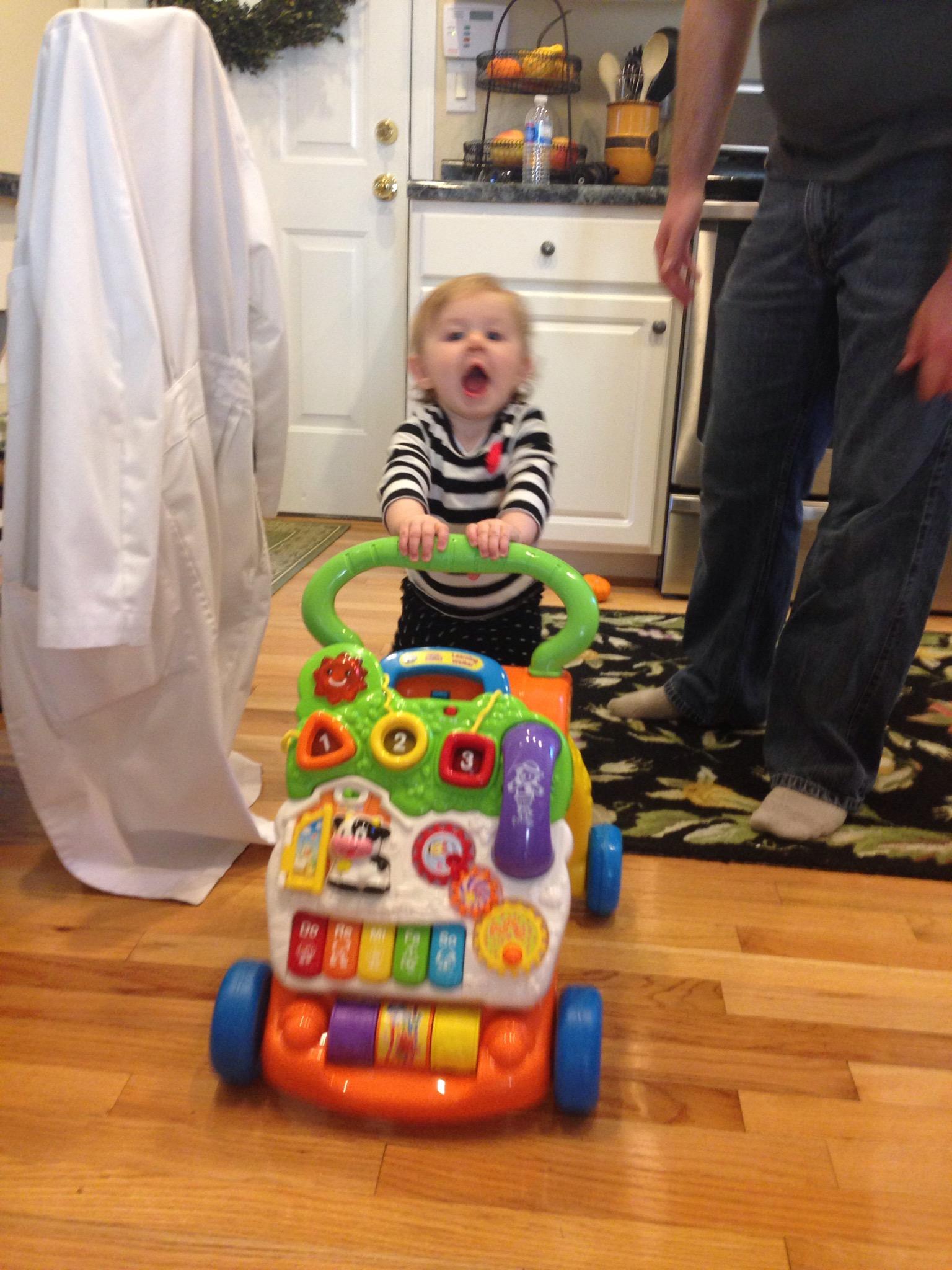 Elizabeth enjoying a new toy!