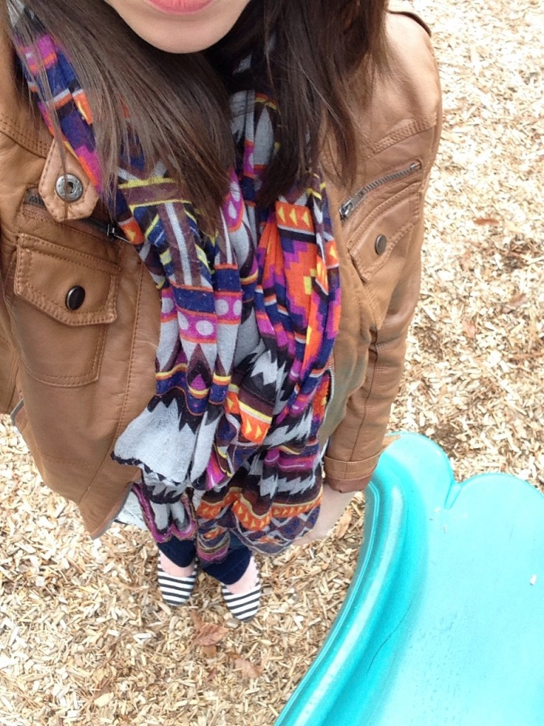 Cup of Tea | Playground Chic OOTD. Leather jacket, patterned scarf and striped flats