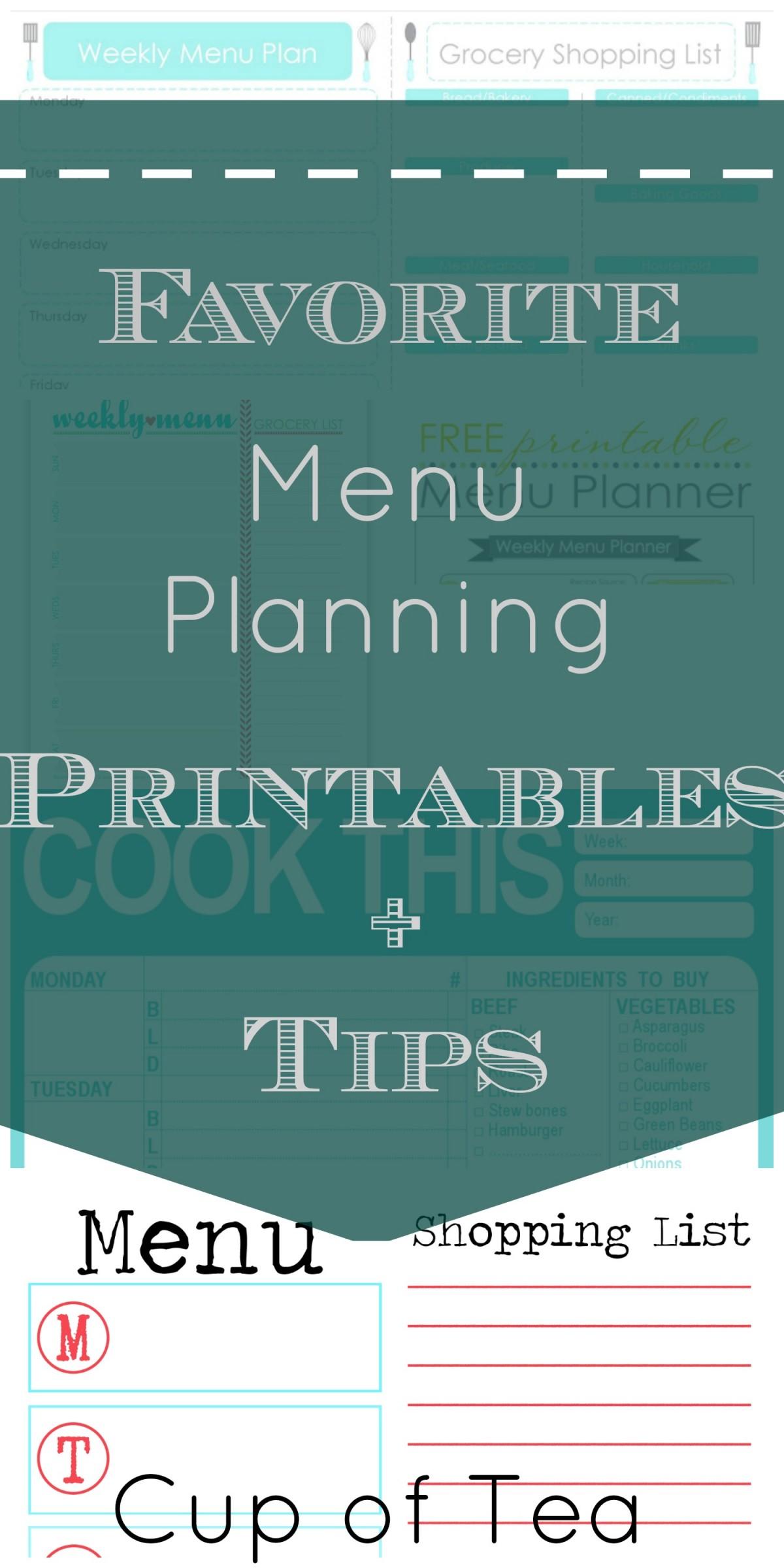 Favorite Menu Planning Printables + Tips | Cup of Tea