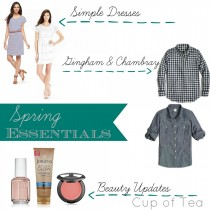 Spring Essentials including easy dresses, chambray and gingham anything, and a few beauty favorites.