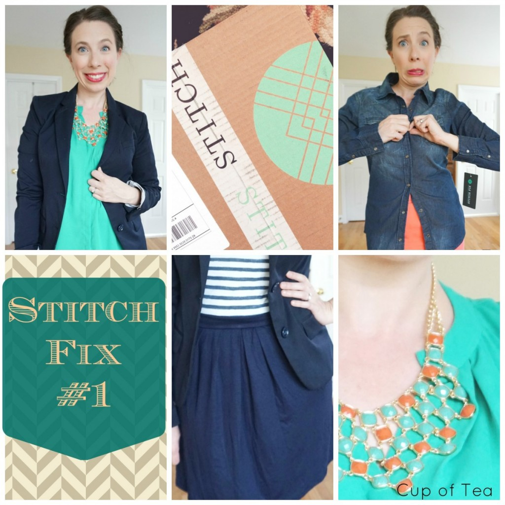 Stitch Fix review with a beautiful statement necklace and a sleeveless teal top! Love it!