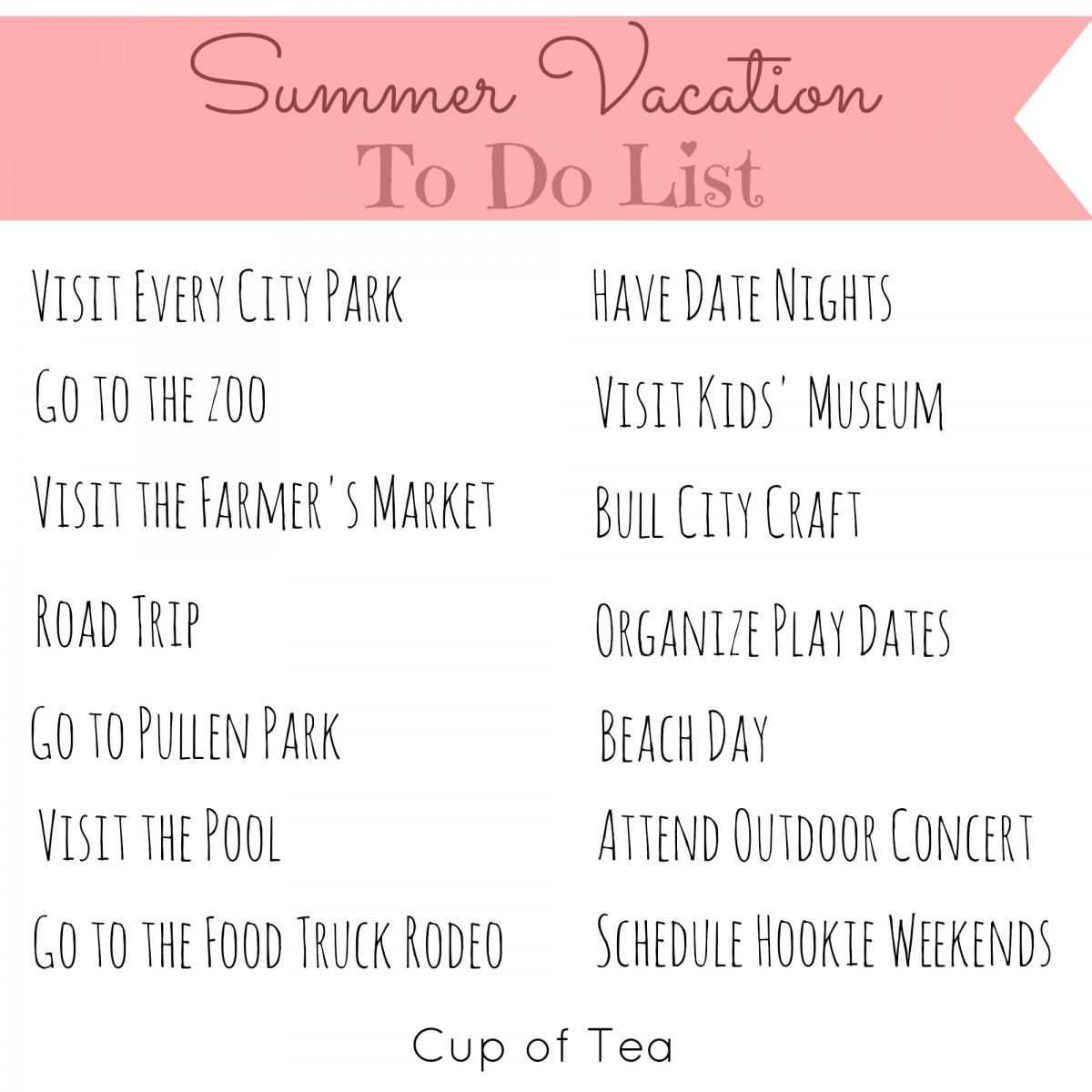 update summer vacation to do list 2015 cup of tea