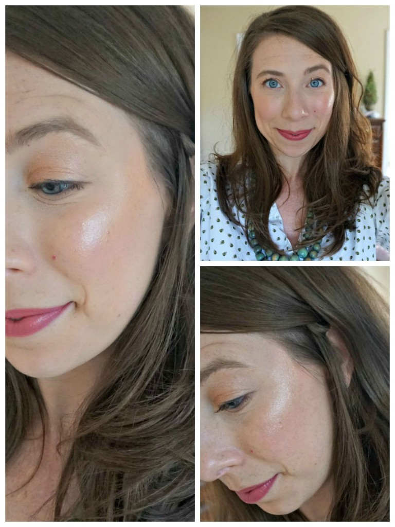 An everyday highlight look using the Becca Shimmering Skin Perfecter in Opal.