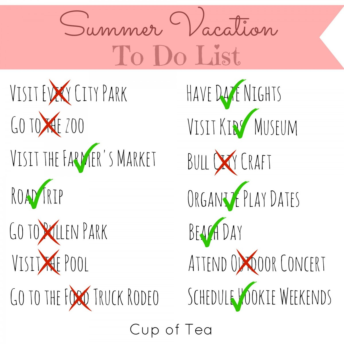 Summer to do list for Where can i go on vacation