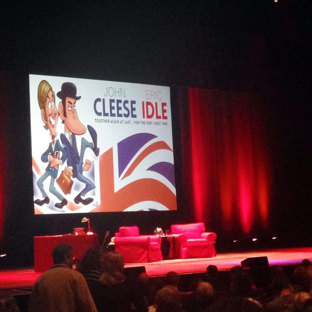 Seeing John Cleese and Eric Idle for our surprise date!