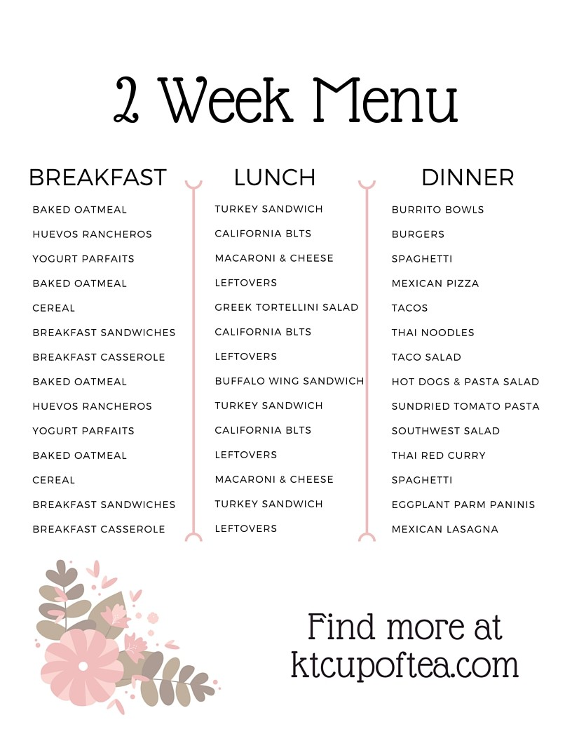 A sample 2 week menu to make life easier!
